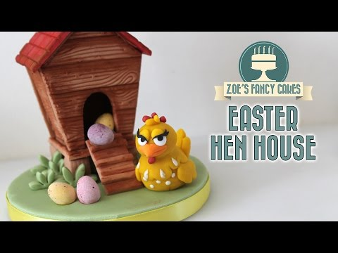 Easter hen house with mini eggs cake topper