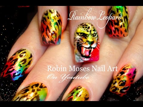 Rainbow Leopard Face Nails | Fierce Animal Print Nails Design Tutorial