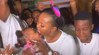 Nana Ama Mcbrown and Husband Cut First Birthday Cake For Their Daughter Maxin
