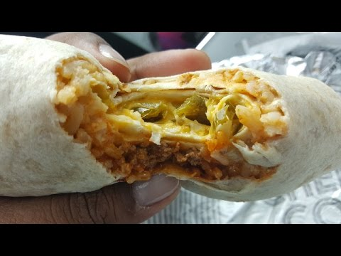 Taco Bell Cheesy Core SPICY & CRUNCHY Burritos with HOOD DRANK