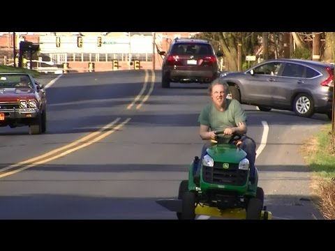 Riding a New John Deere Lawn Tractor Home,  from Home Depot