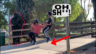 Kid Jumps In Air! | FUNNY INSANE Reactions Bushman Prank! | Try not to laugh