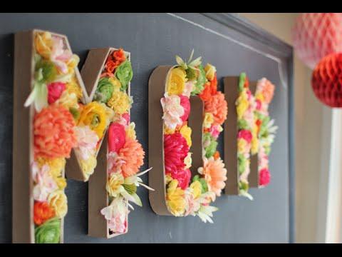DIY Room Decor: Floral Monogram Letters