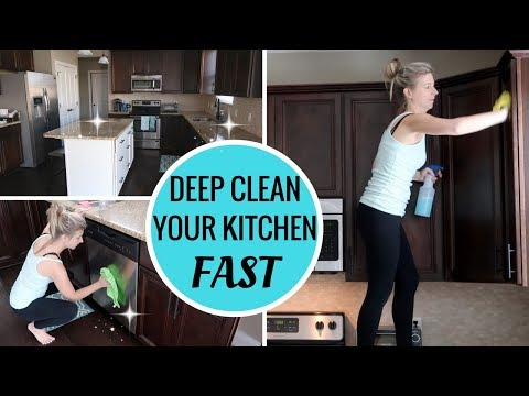 HOW TO DEEP CLEAN YOUR KITCHEN FAST | SPEED CLEAN WITH ME | DEEP KITCHEN CLEANING ROUTINE PART 1