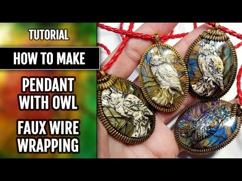 How to make: Faux Wire Wrapped Owl Cabochon Pendant from polymer clay. Full process.