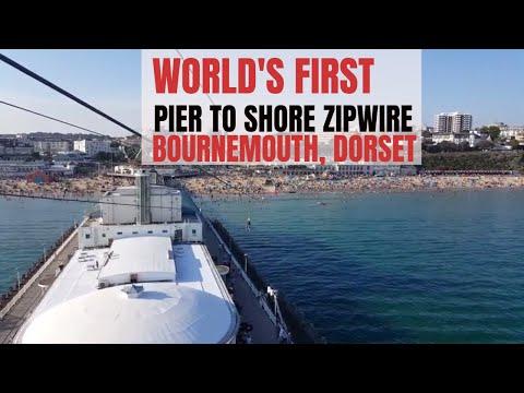 WORLD'S FIRST Pier to Shore Zip Wire! RockReef PierZip, Bournemouth 2017