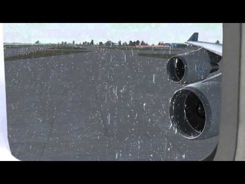 FSX - Boeing 747-400 Taxi + Takeoff (WITH REALISTIC RAIN EFFECT)