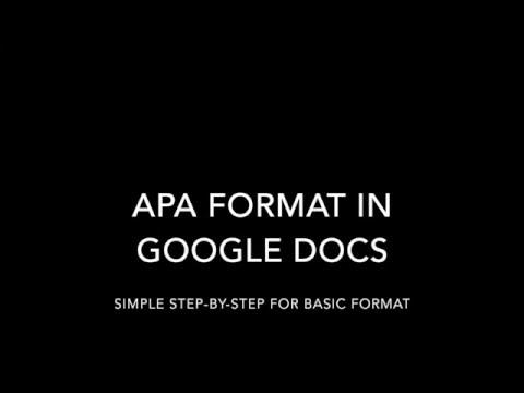 APA Format in Google Docs
