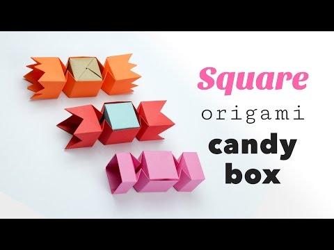 Square Origami Candy Box Tutorial ♥︎ DIY ♥︎ Gift Box ♥︎ Paper Kawaii