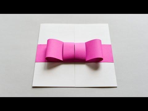How to Make - Greeting Card With Paper Bow Birthday Gift - Step by Step DIY | Kartka Z Kokardą