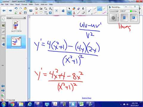 Find tangent lines; quotient rule, point slope form