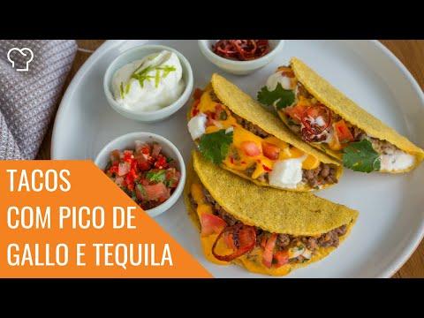Tacos com Cheddar, Jalapeño e Pico de Gallo com Tequila