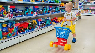 Little Chris pretend play with toys - best videos with small brother