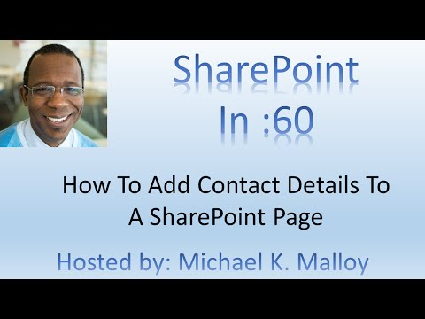 How To Add Contact Details To A SharePoint Page