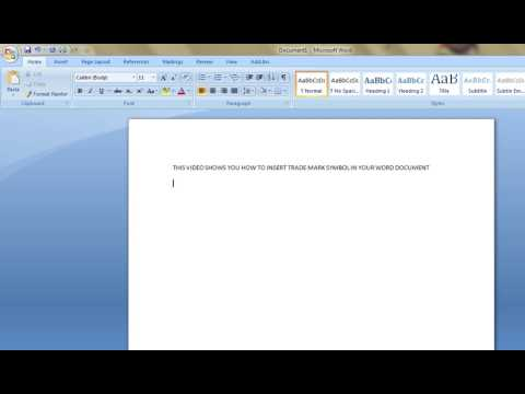 How to Insert trademark symbol in MS Word Document