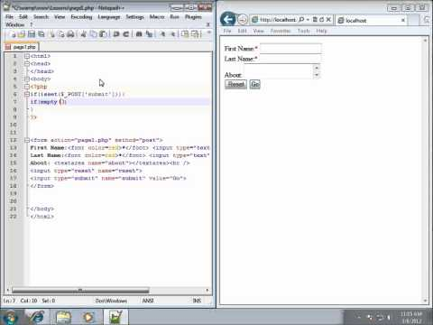 PHP Lesson 29 - Using the EMPTY Function for Required Fields