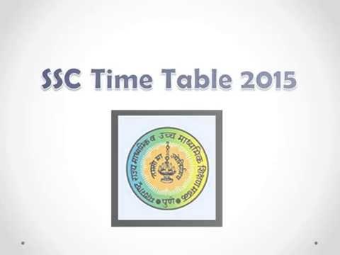 Maharashtra SSC Exam Time Table 2015