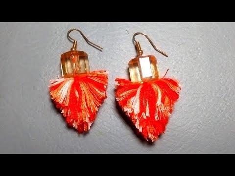 How to make embroidery thread Tassel earrings / Tassel earrings / DIY / jewellery making ideas