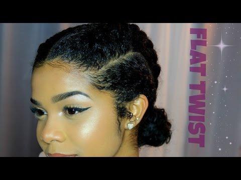 How to: Flat twist bun on Natural Hair Tutorial| Easy Hairstyle | Meg Olivia