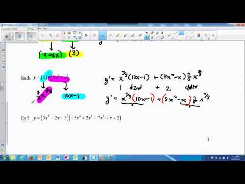 Derivatives Product & Quotient Rules with Polynomials