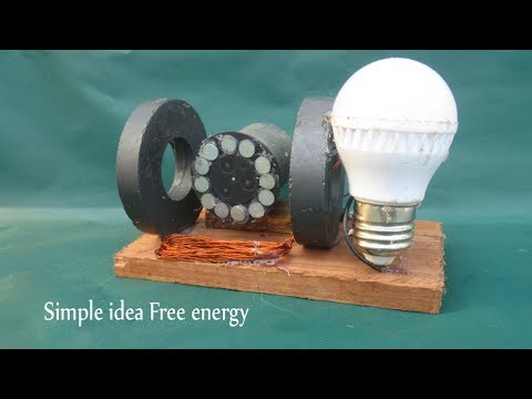 How to make free energy magnets LED generator with battery - Simple idea at school
