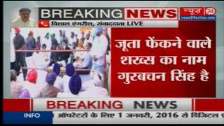 Shoe thrown at Parkash Singh Badal at Bhatinda; one person detained