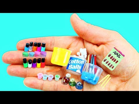 How to make 100% Real Miniature Nail Care Supplies, Nail Polish - 10 Easy DIY Miniature Doll Crafts