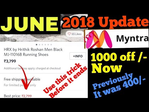 Myntra code free coupon MAY 2018 Get 1000 off on many brands previously 2018 it was 400 off