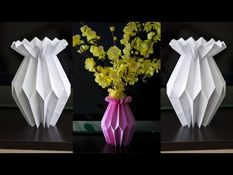 How to make a paper flower vase - DIY Paper Craft - Home decoration ideas