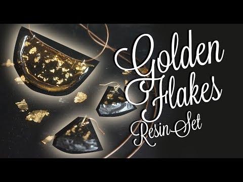 Resin Golden flakes Set  - Necklace + Earrings - DIY