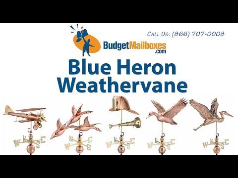 BudgetMailboxes.com | Good Directions 9606V1 Blue Heron Weathervane - Blue Verde Copper