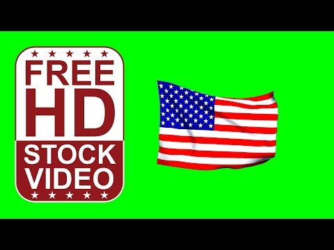 FREE HD video backgrounds –USA flag waving on green screen – 3D animation