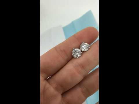 3.95 Carat Diamond Stud Earrings Solitaire Round Brilliant Stones