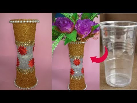DIY/Flower Pot out of Disposable Plastic Glass|| Flower pot made with disposable plastic glass||