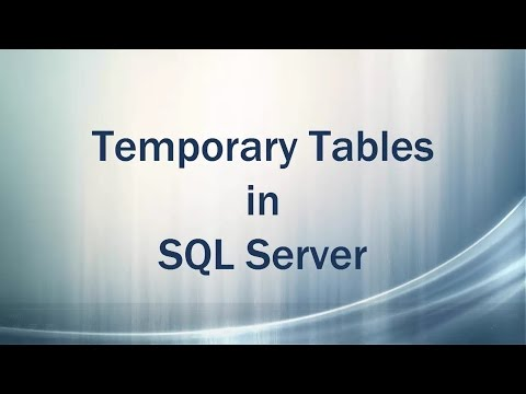 Temporary Tables in SQL Server (Hash Tables)