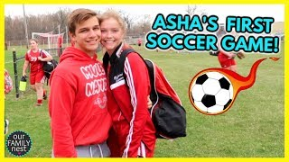 ASHA'S FIRST SOCCER GAME! SHE TOLD US NOT TO COME!