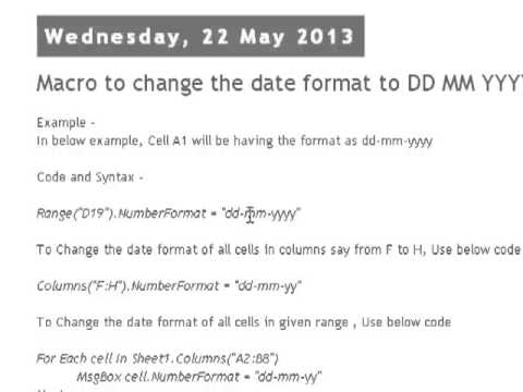 Macro to change the date format to DD MM YYYY in Excel