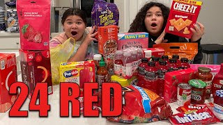 24 HOURS EATING ONLY RED FOOD CHALLENGE