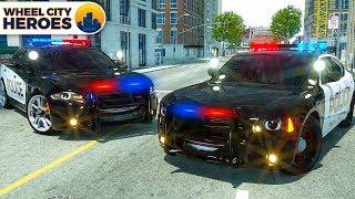 Police Car Lucas Tyre Stuck in Resin | Wheel City Heroes (WCH) 3D Cartoon for Kids