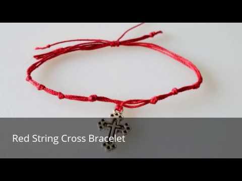 Red String Cross Bracelet