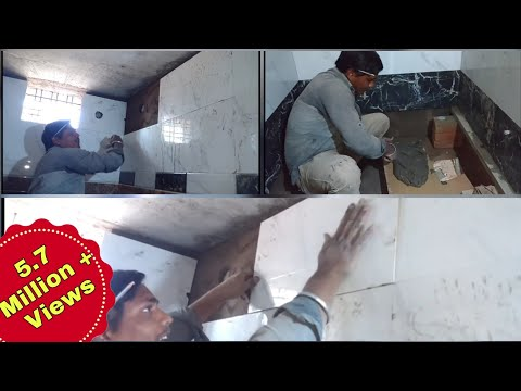 Tiles installation in bathroom in hindi by mk