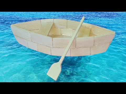 How to make a boat out of popsicle sticks - art projects or art activity for school.