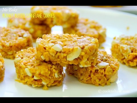 No Bake Peanut Butter Corn Flake Cookies - 5 Ingredients