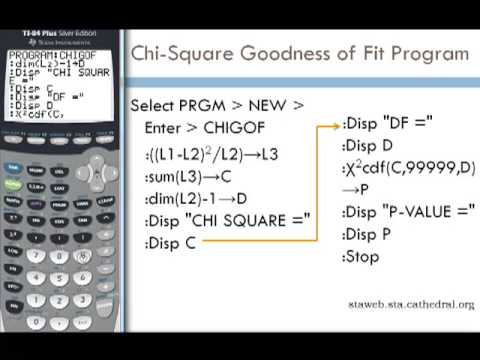 Chi-Square Goodness of Fit Program for TI-83 or TI-84