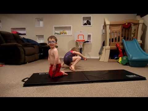Gymnastics practice in basement!
