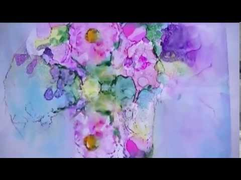 Vase of Flowers - alcohol ink painting