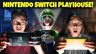 INSIDE THE NINTENDO SWITCH PLAYHOUSE! Playing Luigi's Mansion 3!