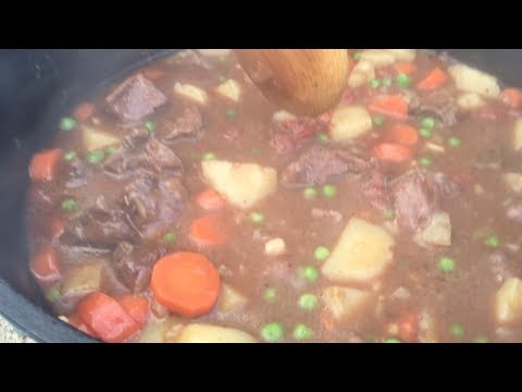 Winter Dutch Oven Beef Stew with Cornbread