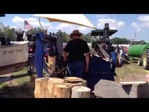 Making cedar shingles with a steam powered saw