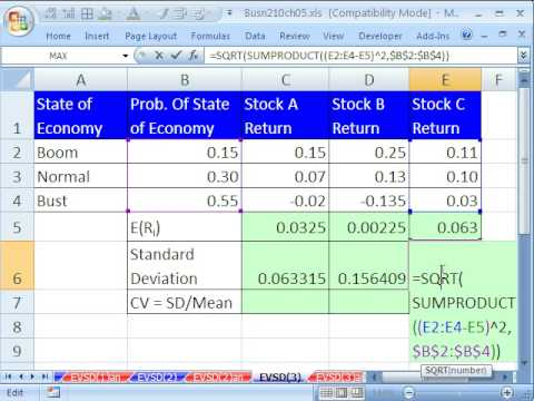 Excel Statistics 61: Stock Expected Return & Standard Deviation (Probability)
